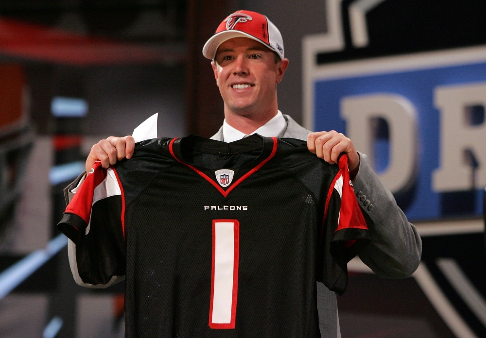 NEW YORK - APRIL 26: Matt Ryan poses for a photo after being selected third overall by the Atlanta Falcons during the 2008 NFL Draft on April 26, 2008 at Radio City Music Hall in New York City. (Photo by Jim McIsaac/Getty Images)
