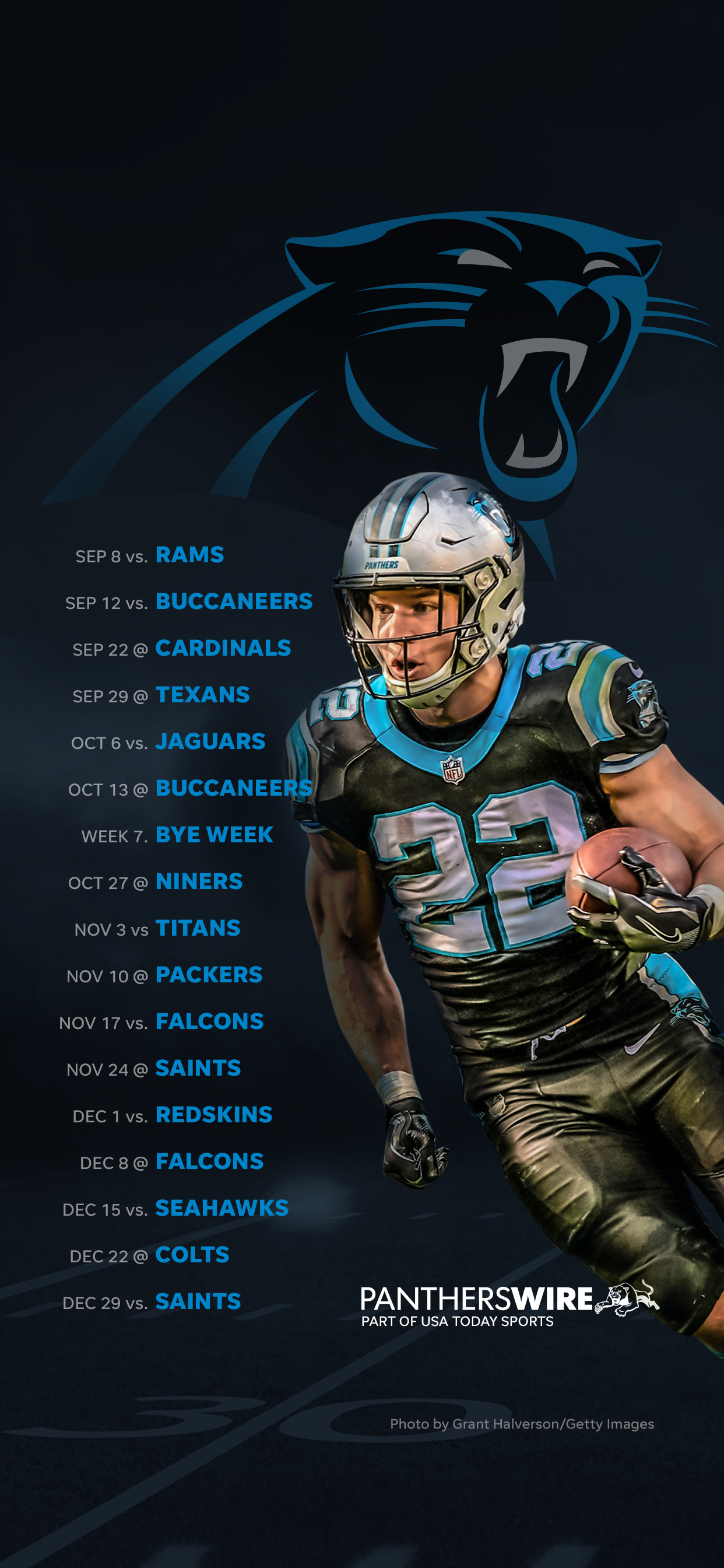 2019 Carolina Panthers Football Schedule Downloadable Wallpaper