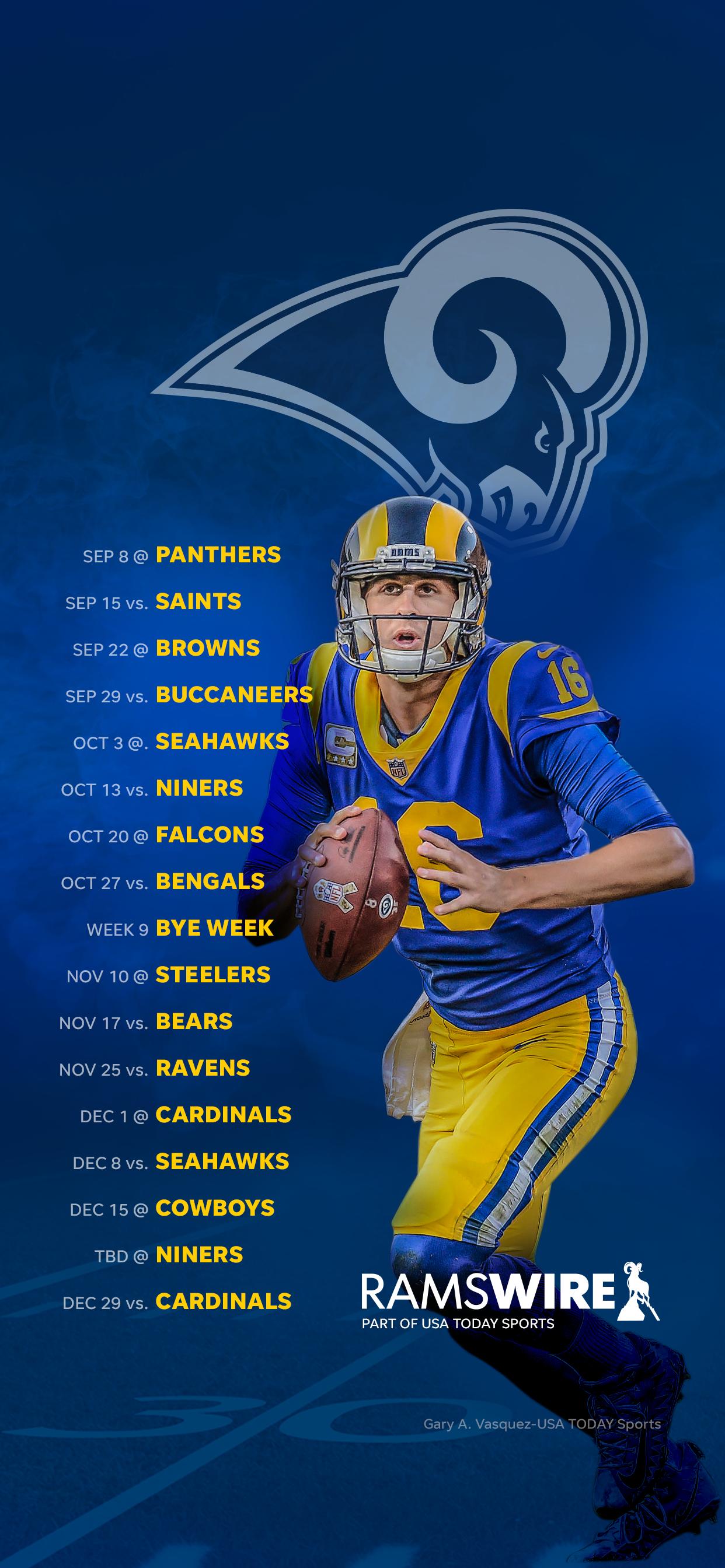 2019 Los Angeles Rams Schedule Downloadable Wallpaper