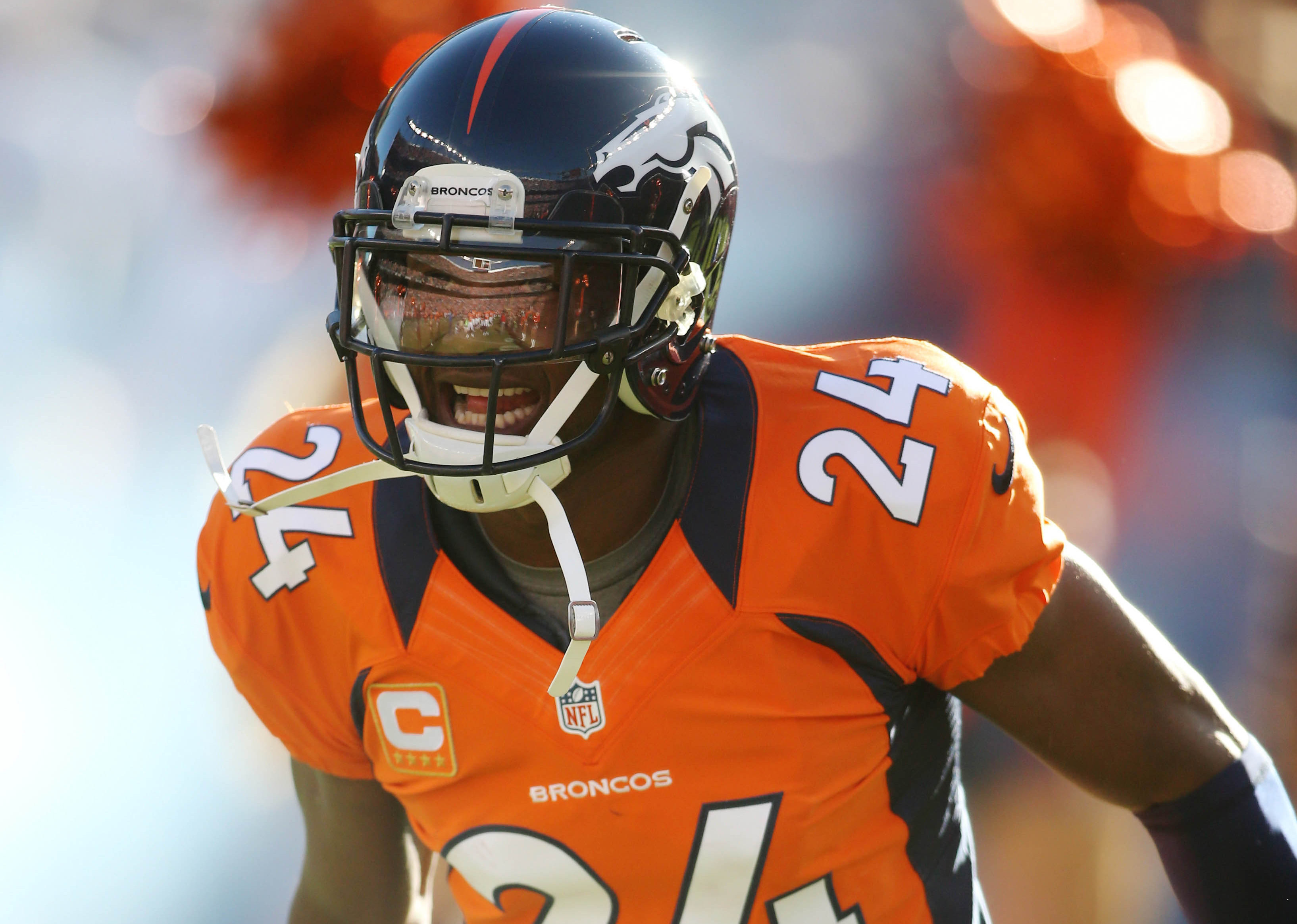 December 2, 2012; Denver, CO, USA; Denver Broncos cornerback Champ Bailey (24) entering the field before the first half against the Tampa Bay Buccaneers at Sports Authority Field at Mile High. The Broncos won 31-23. Mandatory Credit: Chris Humphreys-USA TODAY Sports