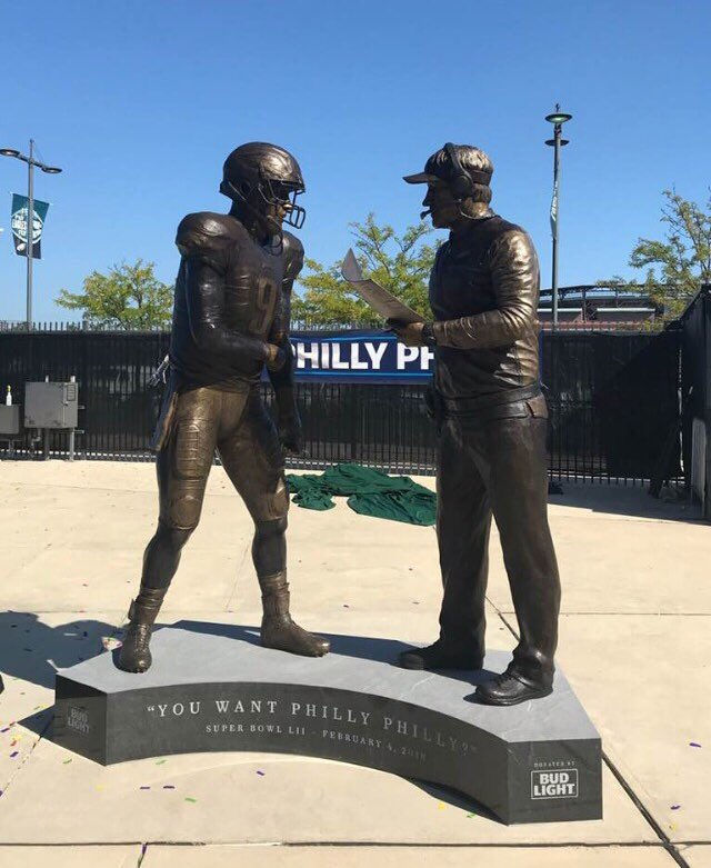 Bud Light unveils statue of Doug Pederson and Nick Foles calling for  'Philly Special'