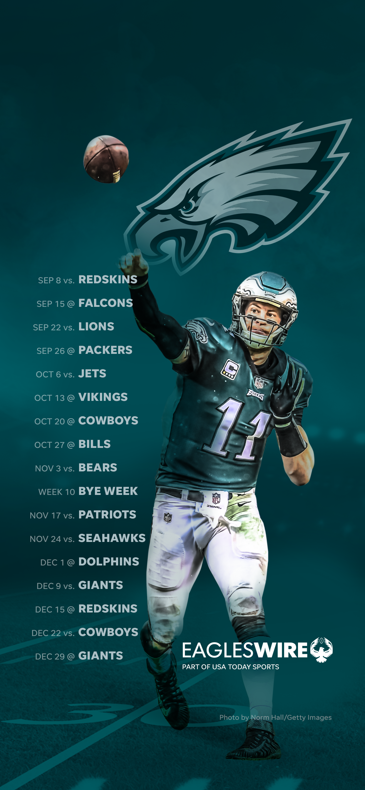 2019 Philadelphia Eagles Schedule Downloadable Wallpaper