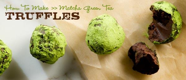 Making green tea truffles