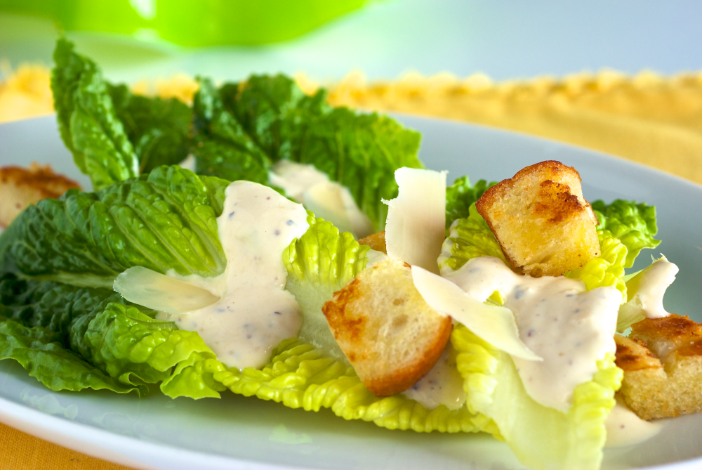 Caesar Salad with Homemade Croutons.