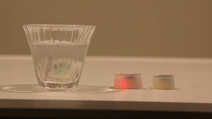 Glowing ice cubes monitor alcohol