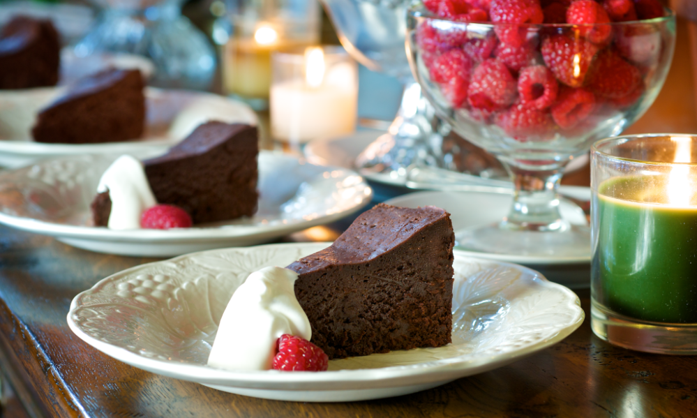 Here's the famous rich and decadent chocolate cake named for its missing ingredient. Dense, moist and super-chocolaty