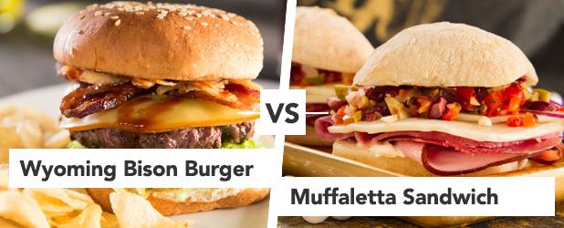 Round 2 Wyoming Bison Burger vs Muffaletta Sandwich