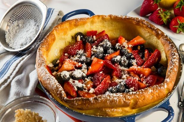 An impressive dish that is simple to make, as well as being fresh and tasty! Feel free to be creative with the fillings, such as adding peach basil or strawberry rhubarb. Dutch Babies are lovely for brunch or any meal that needs an elegant touch.
