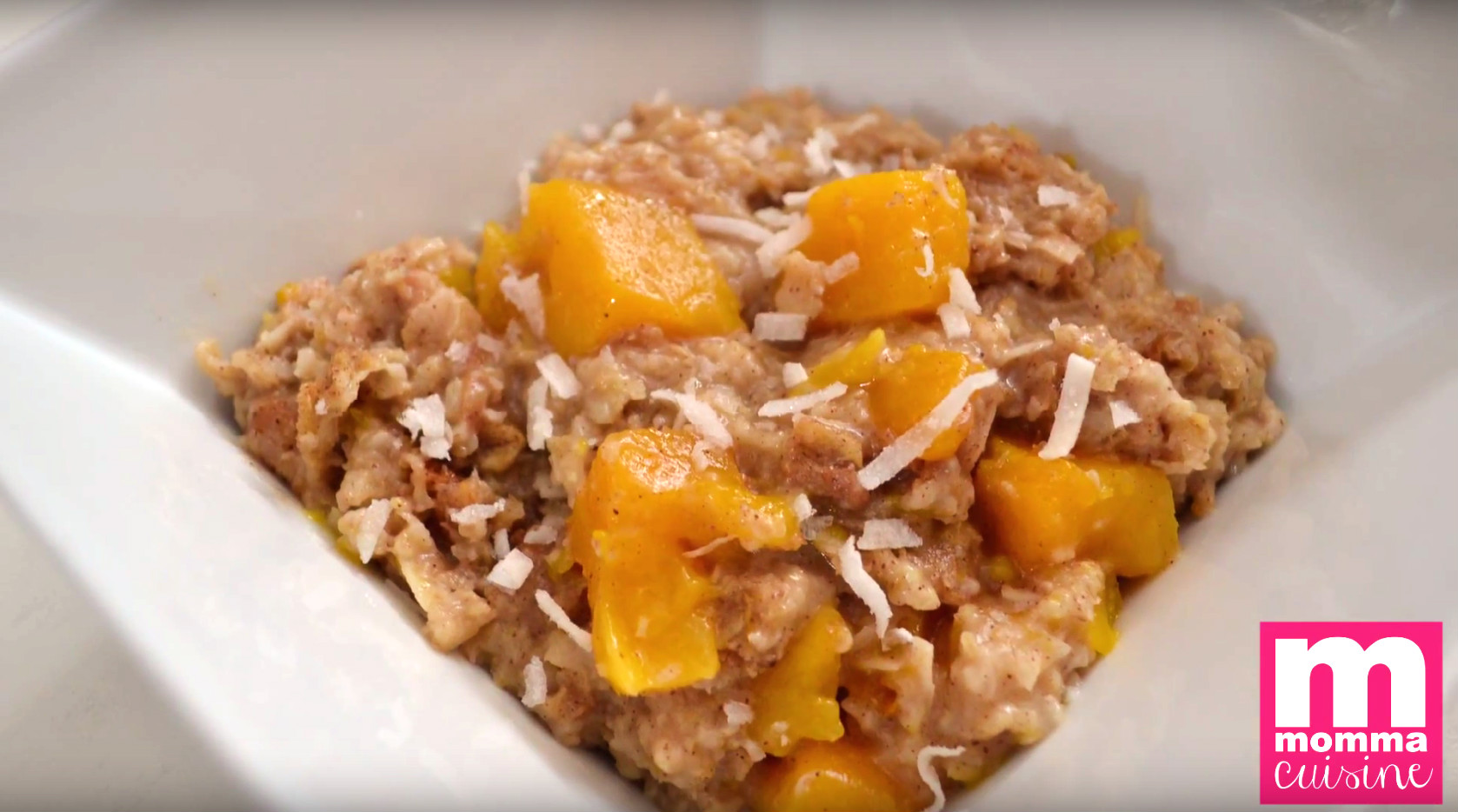 This fruity and fresh oatmeal morning starter is a great way to start your day out with plenty of energy. Not only do mango and coconut make the perfect fruit combination, but the fiber in the oatmeal is great for your digestive system, making this recipe the ultimate healthy breakfast.
