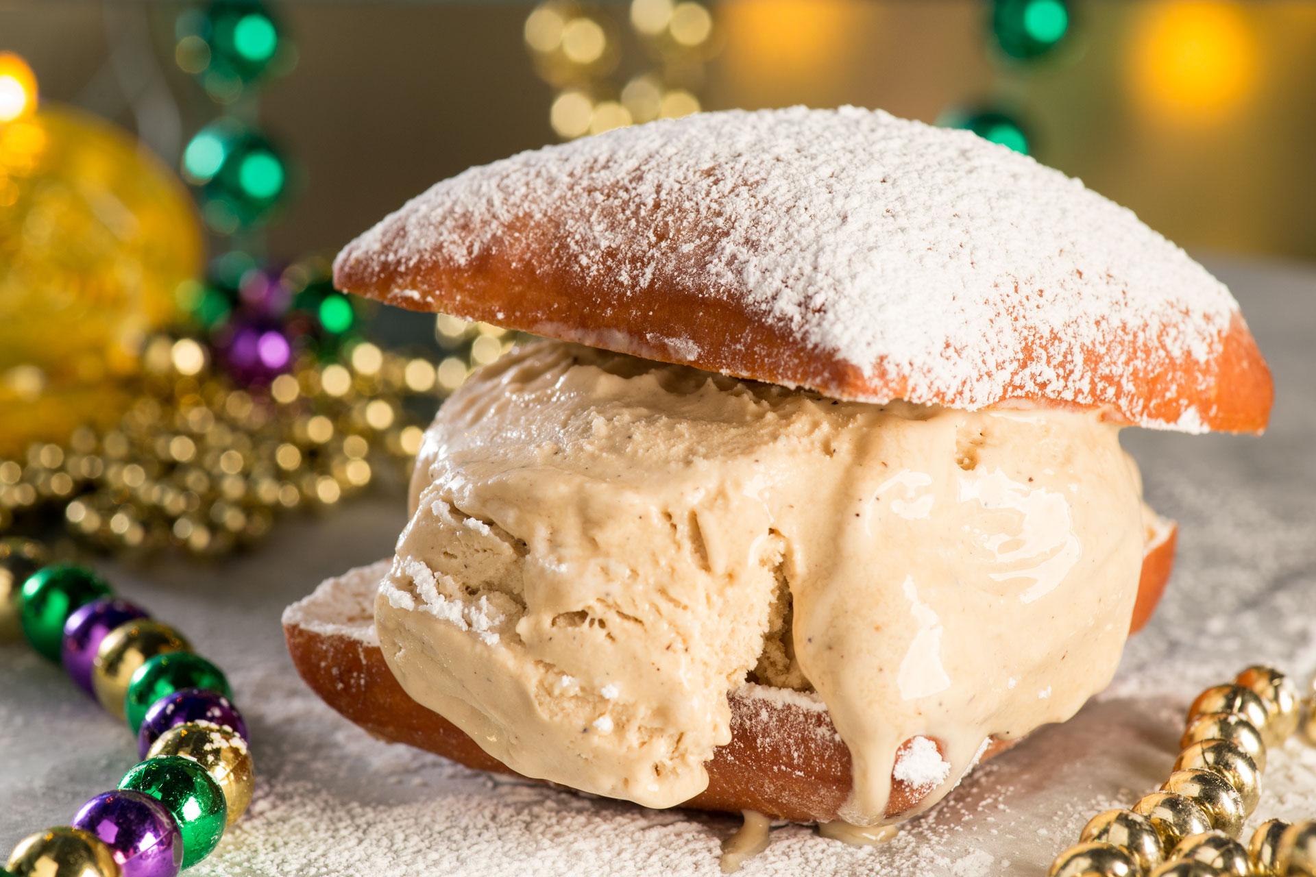 French Coffee & Beignet Ice Cream Sandwiches