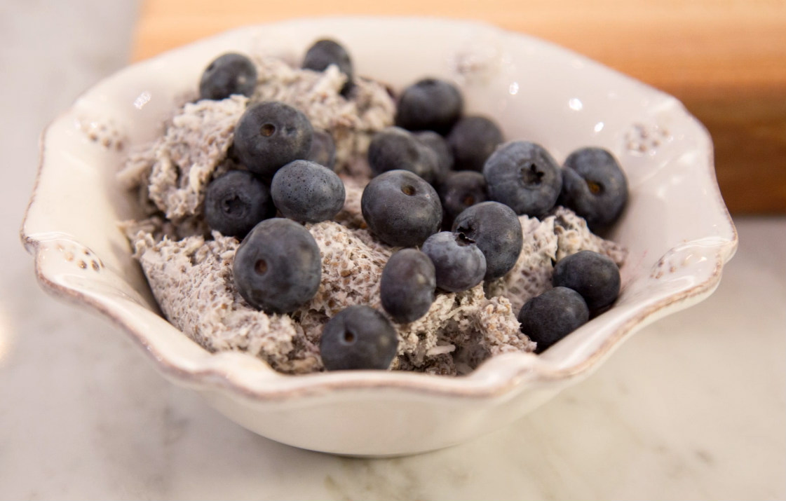 Chia seeds are known for their heart-healthy benefits, such as lowering cholesterol and blood pressure. Combining the antioxidants in fresh blueberries with a simple to make chia pudding can make the ultimate cardiovascular breakfast booster that is sweet and satisfying.