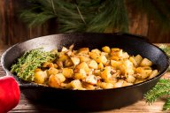 Fried Potatoes and Onions with Thyme are just the difference you need when considering potatoes for the holidays. This goes perfectly with a ham dinner, and is a beautiful skillet dish. For leftovers, if there are any, throw in some of your ham and make it a main dish.