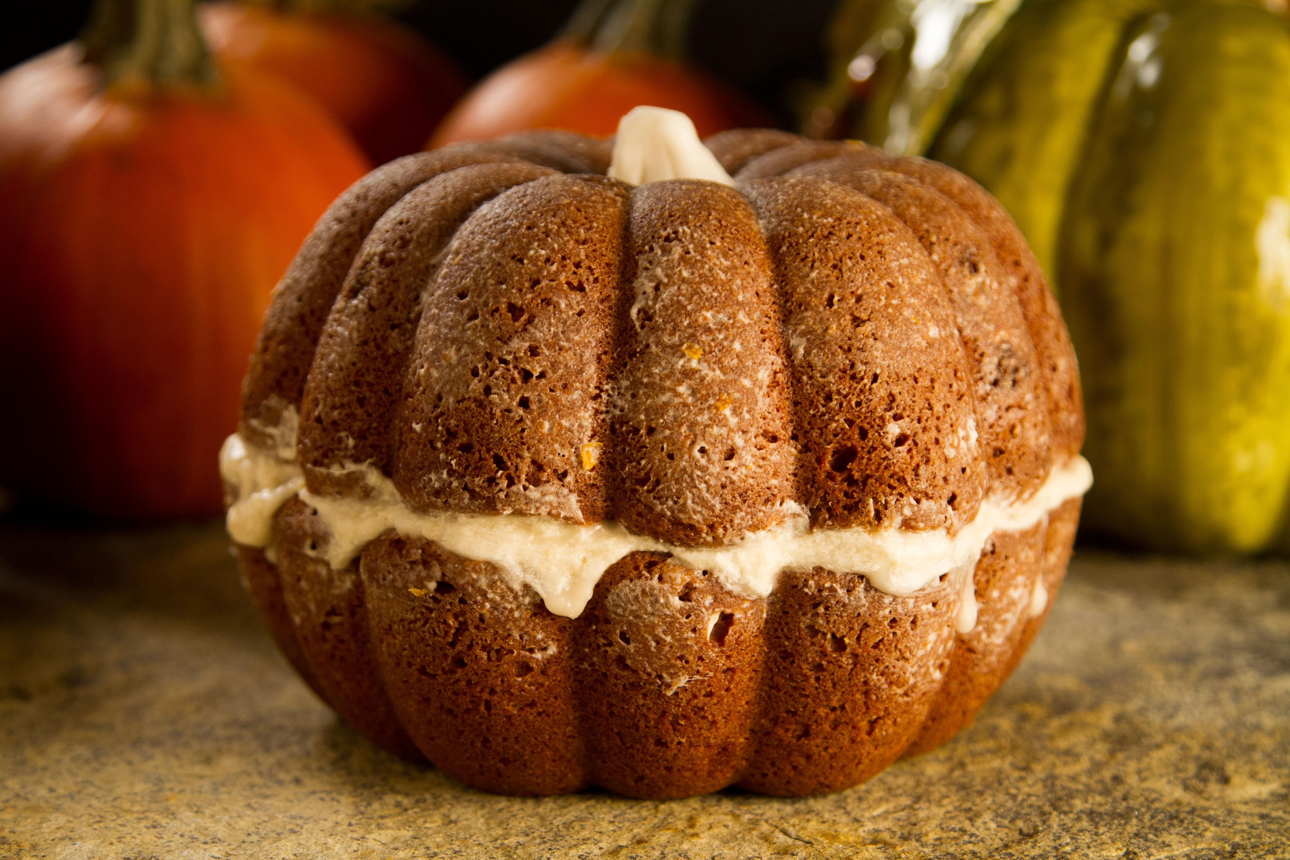 Pumpkin shaped Harvest Spice Cake
