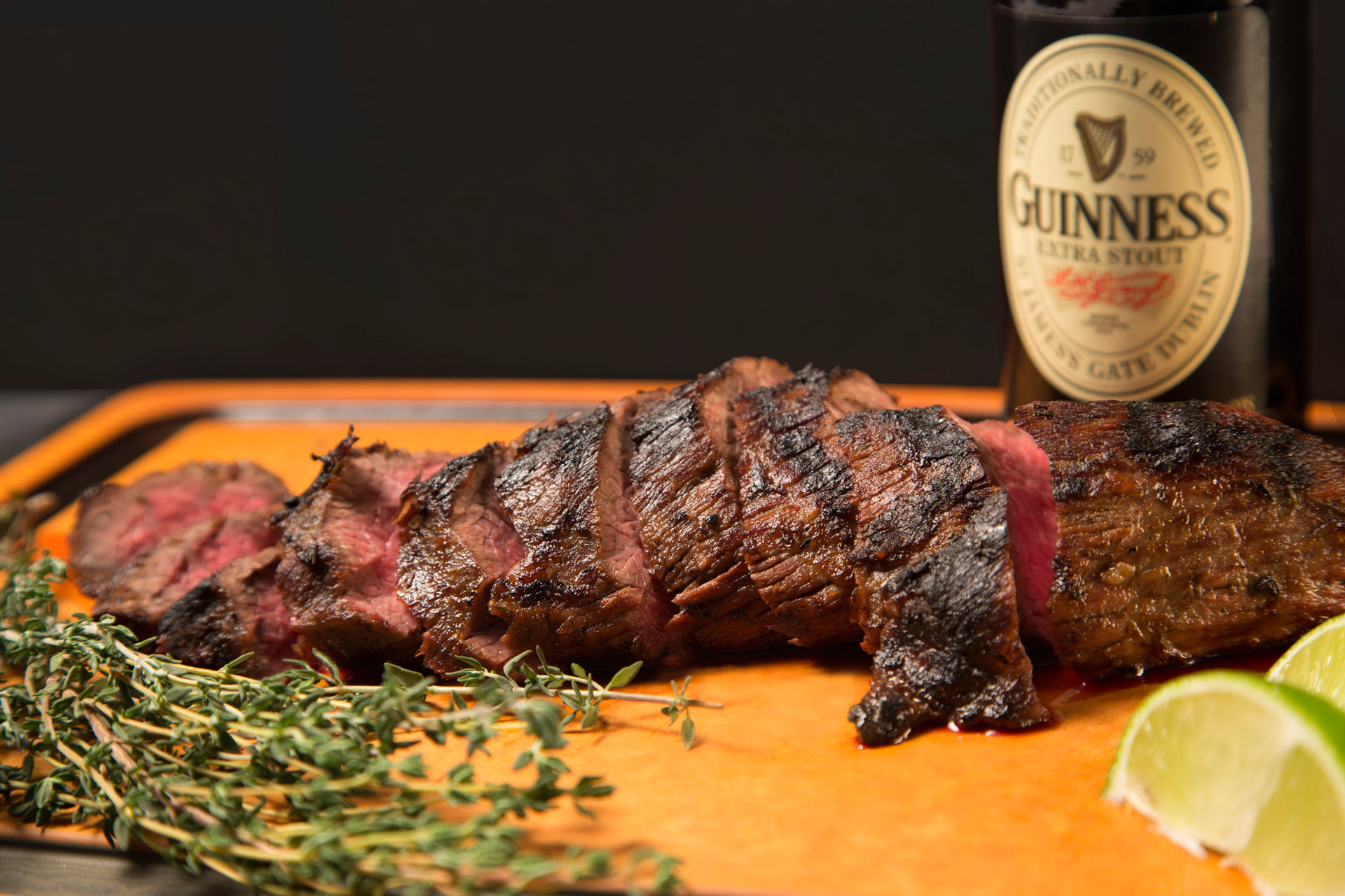 Do your guests a favor this St. Patrick's Day and make this tri-tip steak marinated in an Irish stout beer with fresh lime zest, garlic, herbs, and pepper.