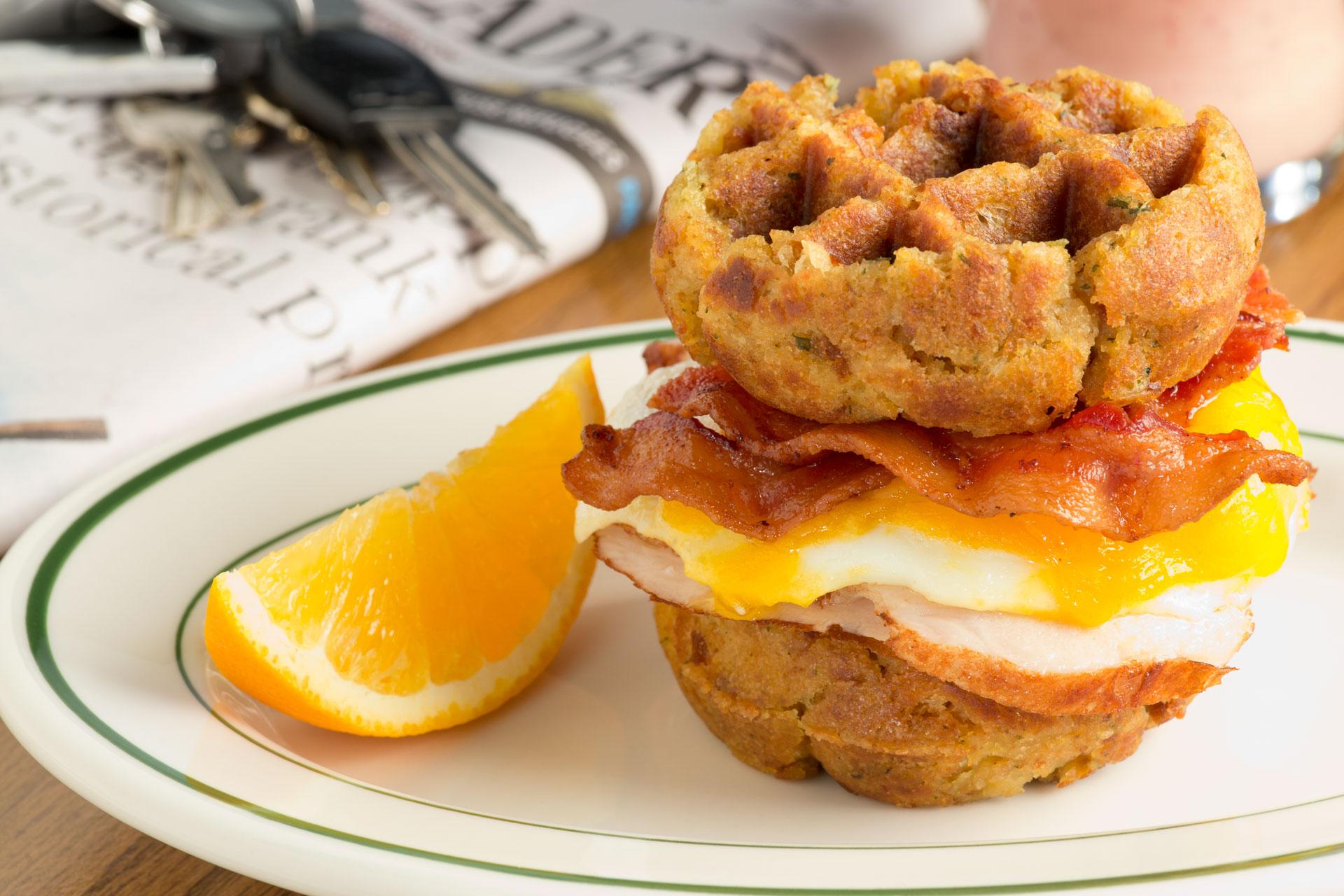 Left-over Turkey & Stuffing Breakfast Waffle Sandwich