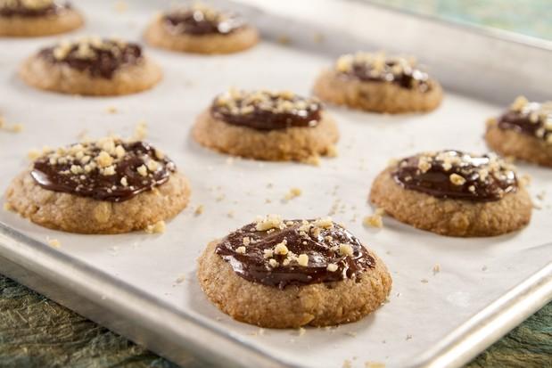 Spiced Walnut Crust Cookie with Chocolate Ganache and Sea Salt