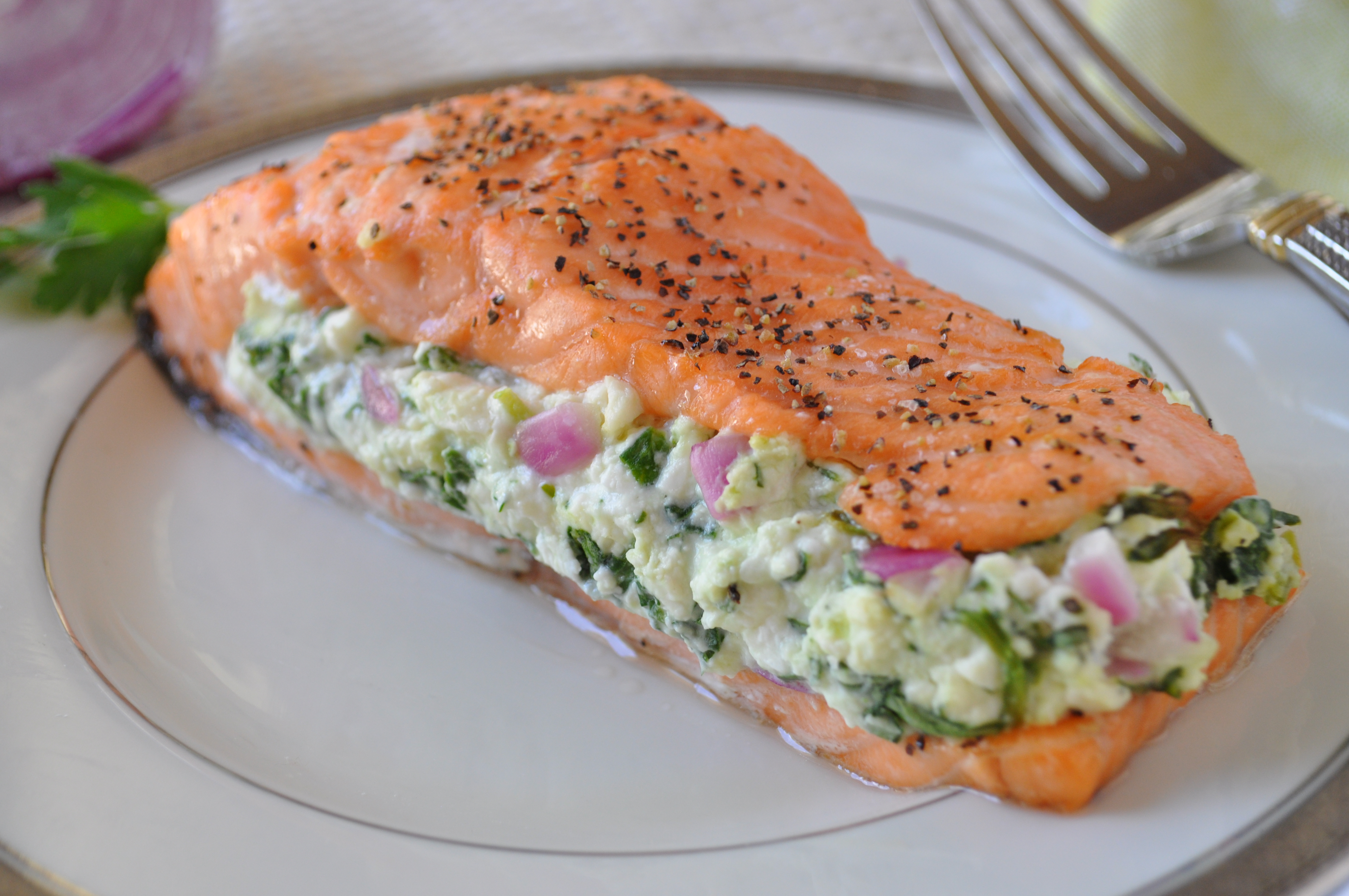 This recipe makes salmon preparation simple while still introducing a gourmet touch. With only five ingredients you can have an elegant dinner entree that takes less than thirty minutes from start to finish!
