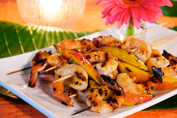 Tequila grilled shrimp and mango skewers