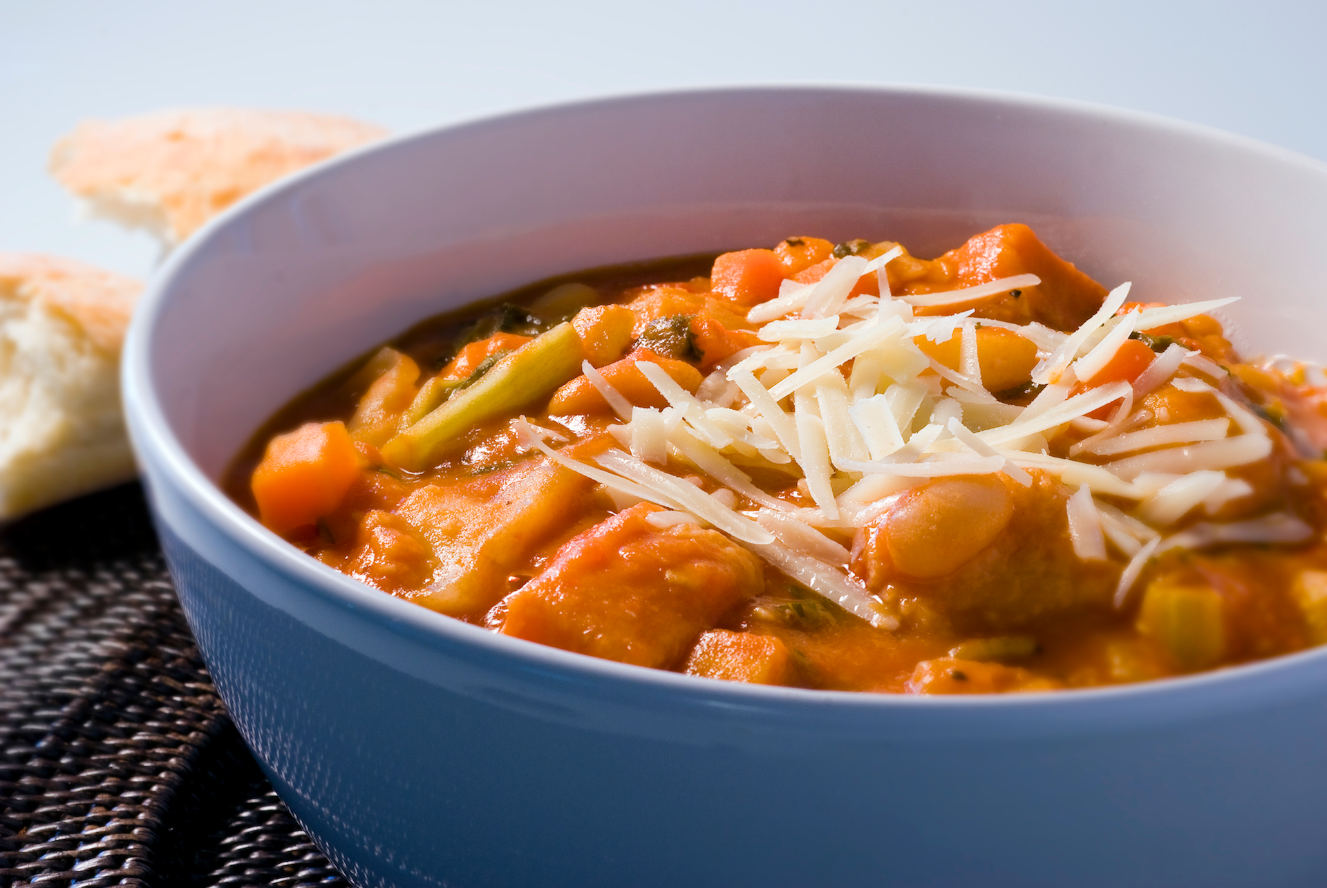 Hearty Italian ribollita pairs the fresh & healthy flavor of Italian vegetables with rich chicken broth, cannellini beans, fresh herbs, rustic bread and Parmesan cheese for a satisfying one-dish meal.
