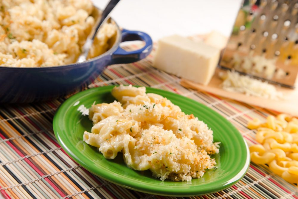 White cheddar and grated Parmesan come together to make this a two-cheese masterpiece that is creamy, cheesy, and has just the right amount of crunch on top!