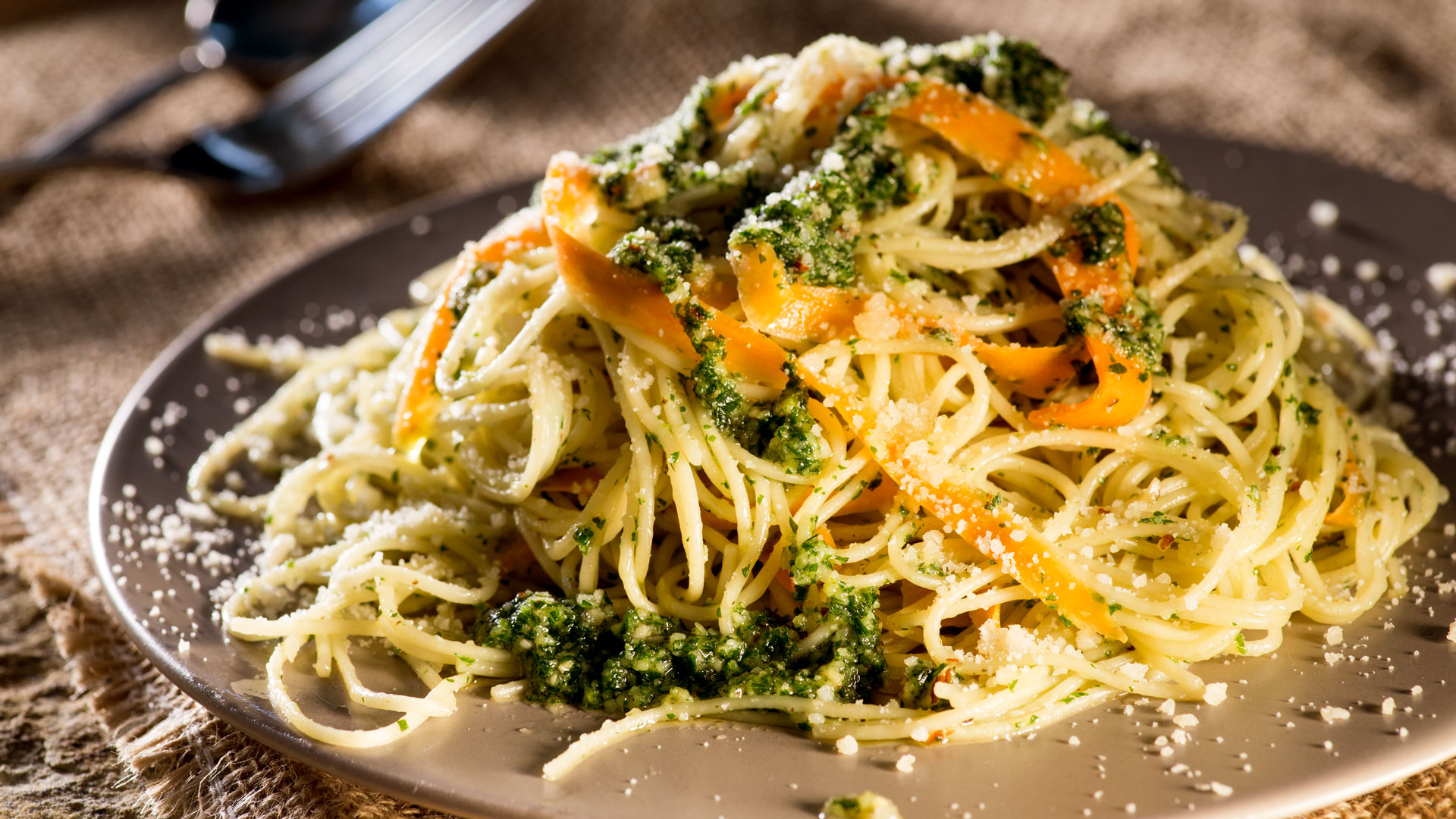 Angel Hair Pasta with Carrot Top Pesto