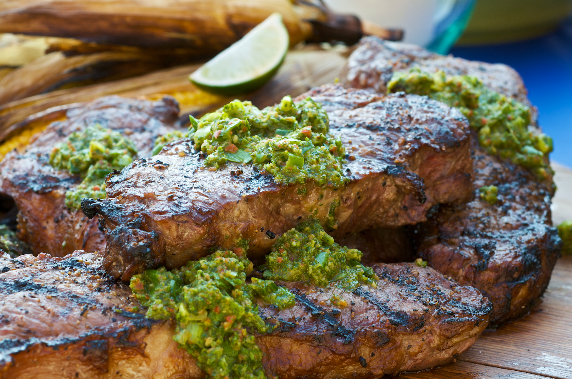 A bright green sauce of herbs, garlic, and limes, with origins in Argentina.