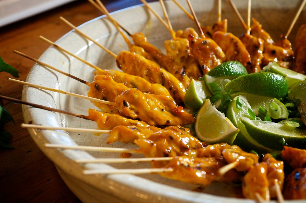 Golden Dijon Mustard Spicy Chicken SkewersFor this festive appetizer, we grilled juicy marinated chicken tenders skewered on bamboo sticks, and basted them with a tangy-sweet honey mustard BBQ sauce spiked with sweet chili sauce. Simply delicious!