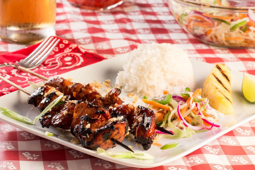 Spice up your barbecue by trying some new flavors. Filipino Barbecue Chicken Skewers are marinated overnight in a Banana Ketchup Barbecue sauce and then grilled and re-slathered in the delicious sauce, paired with fresh relish slaw.