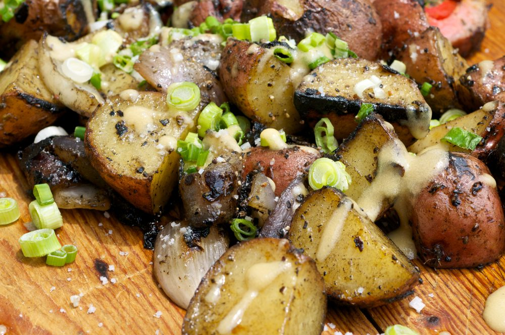 Grilled Potato Salad with Red Onions and Mustard Vinaigrette