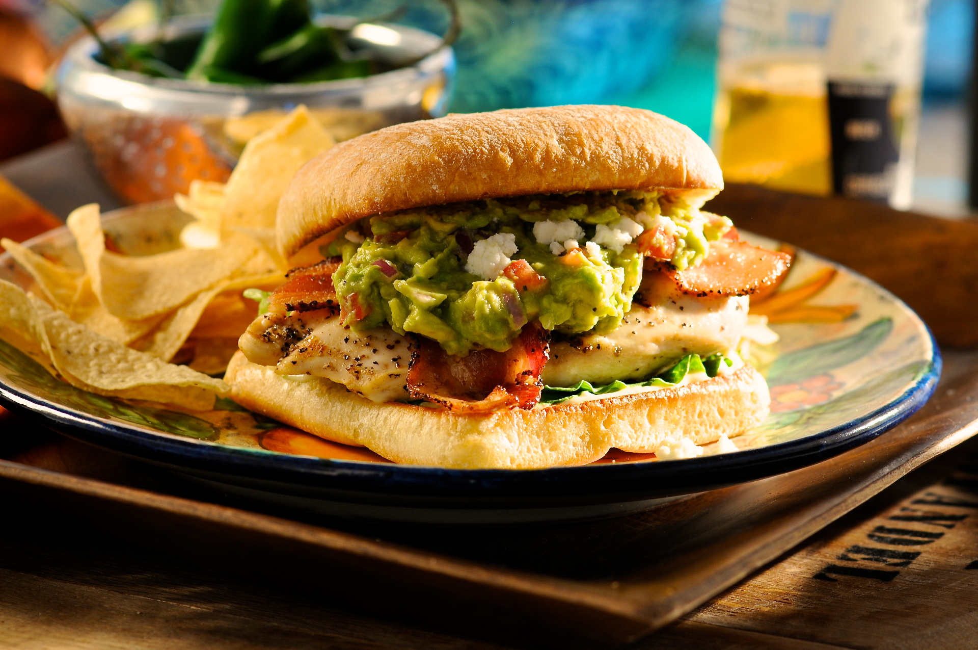 Add a Mexican accent to your run-of-the-mill club sandwich with a scoop of fresh guacamole.The crumbled cojita cheese adds another nice layer of flavor. Don't skimp here... it's worth it.