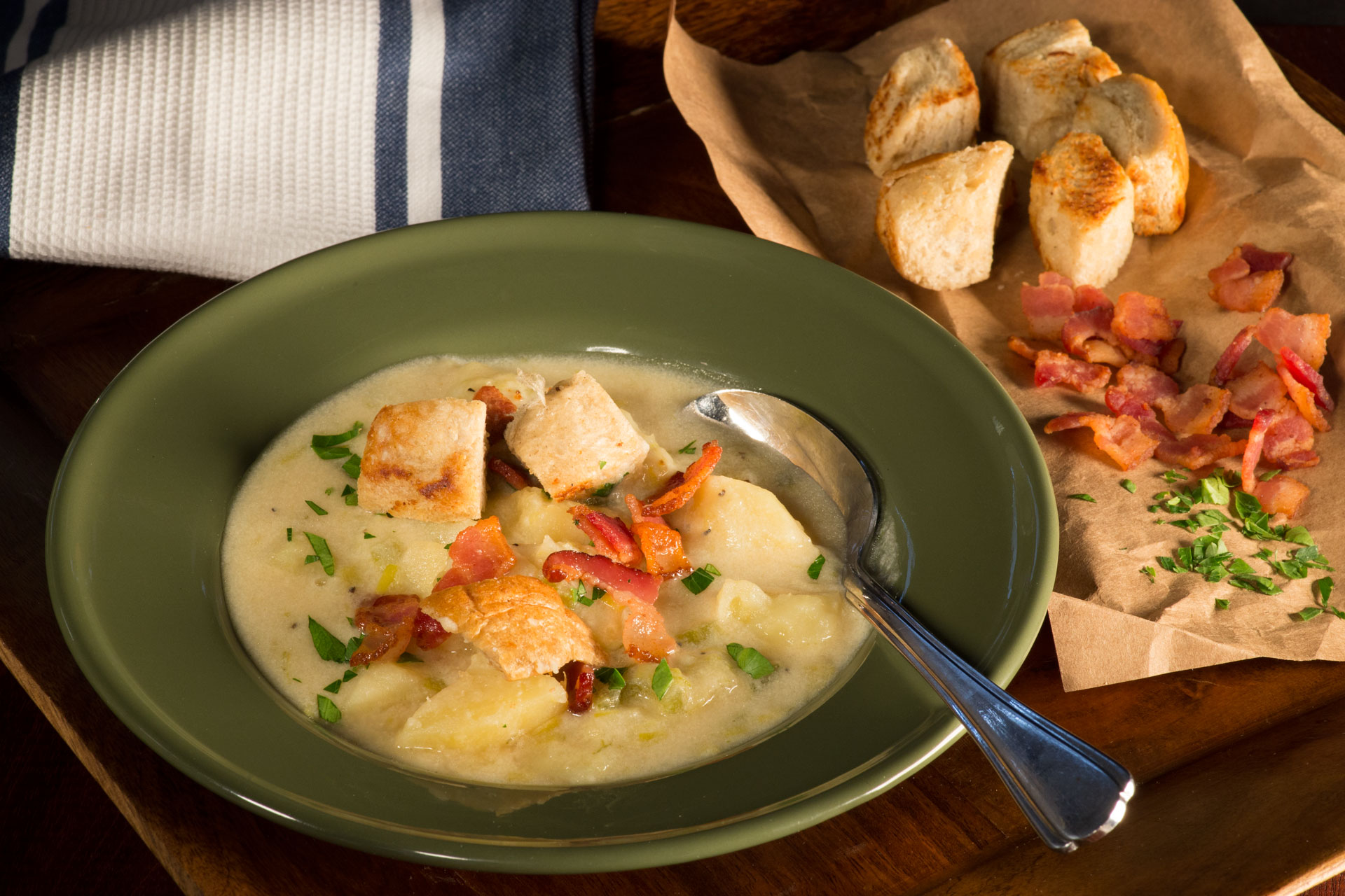 Potato Soup with Cheese and Irish Ale is just the thing to help you cozy up at home and celebrate St. Patrick's Day, all while feeling you are at the neighborhood pub!