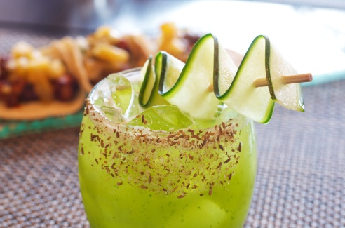 If you've ever wanted to practice your hand at mixology, this is the cocktail for you. Made with common ingredients in a unique way, the cucumber, lemon, and cumin make a beautiful cocktail.