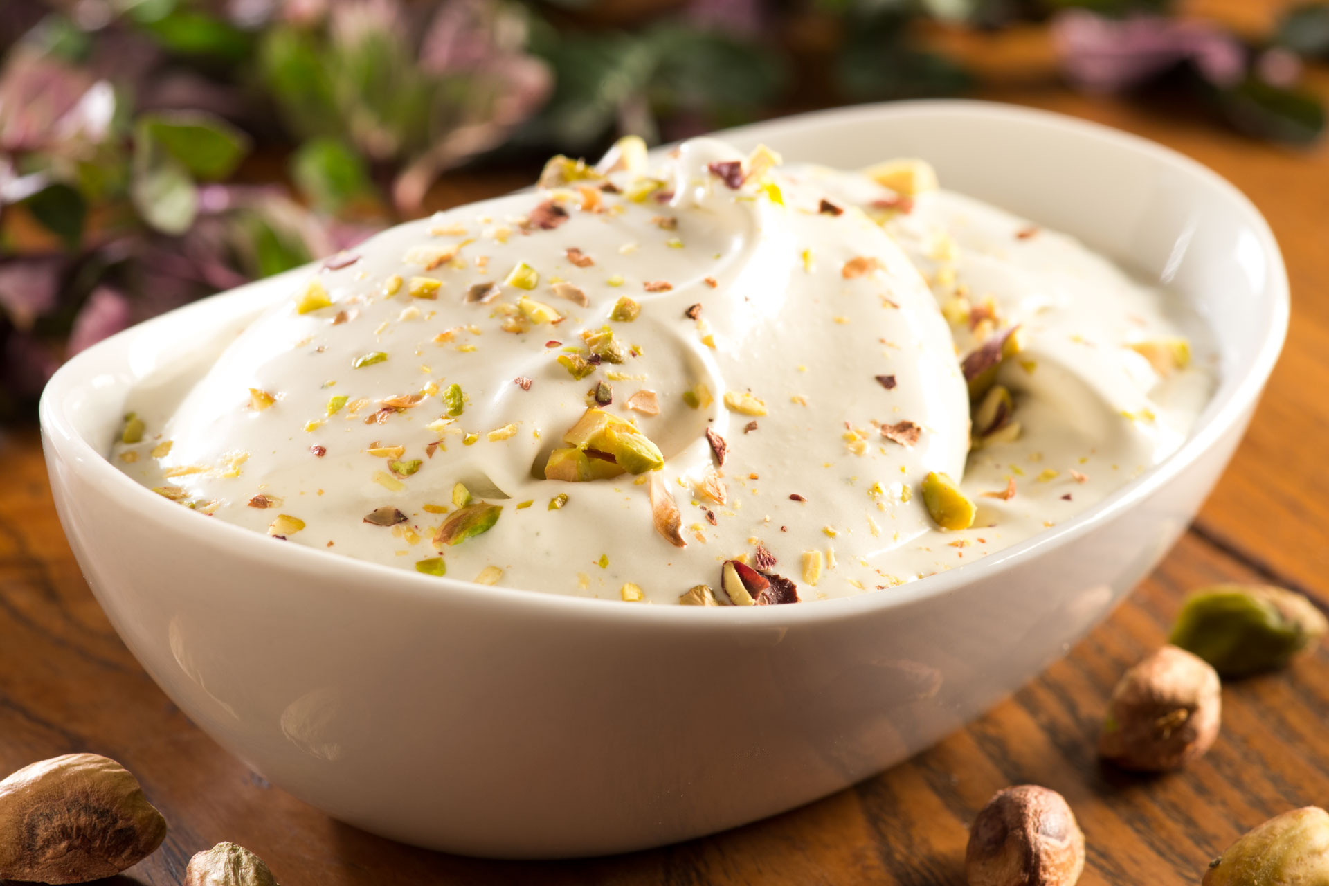 This recipe uses freshly picked mint sprigs that have been strained into a vanilla custard to create a light, minty dessert. We paired it with pistachios, this year's nut of choice, to get a really unique flavor combination!