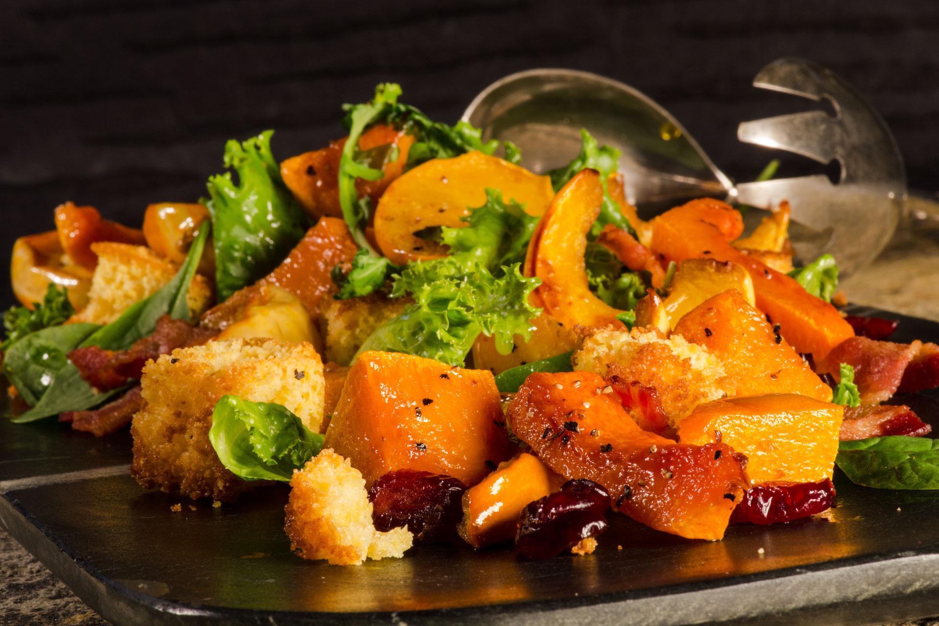 Panzanella Salad with Roasted Butternut Squash and Maple Dijon Vinaigrette