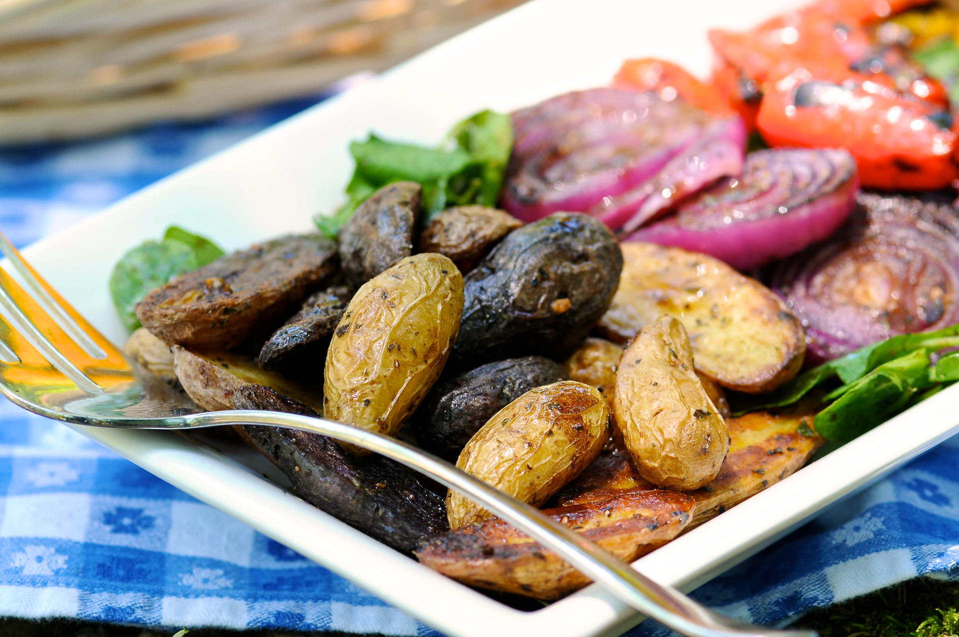 Rosemary Roasted Potatoes with Grilled Peppers and Onions