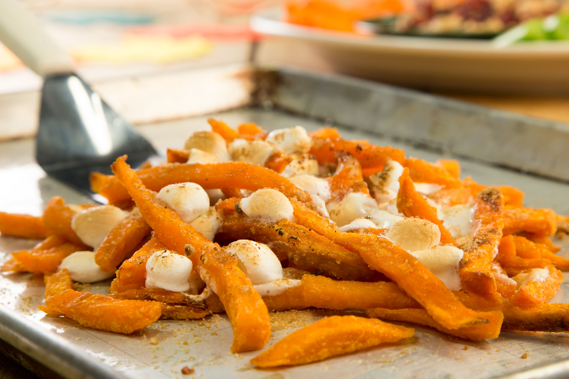 Finger Friendly Sweet Potato Fries with Marshmallows//Photo by Lance Mellenbruch