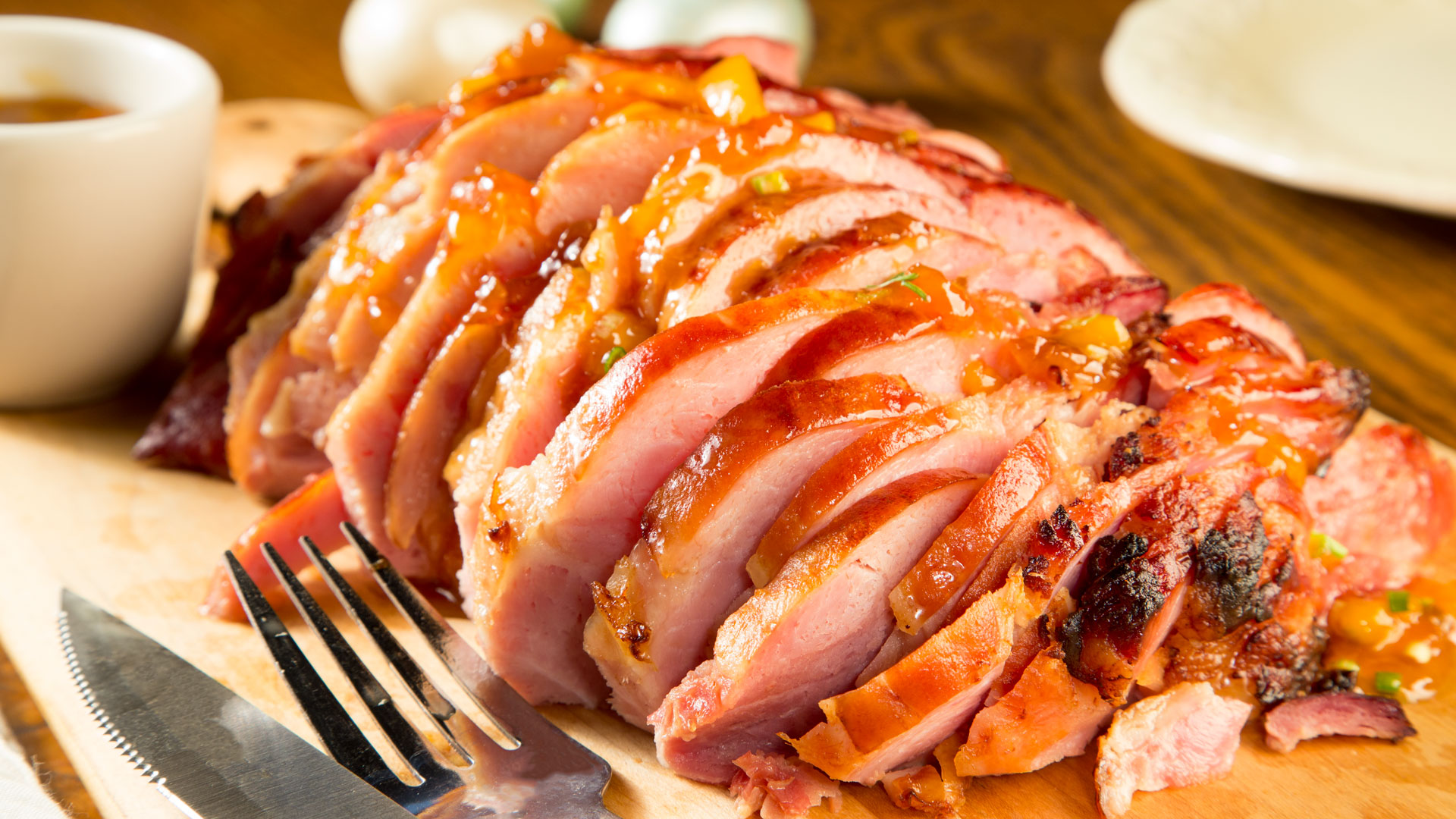 A pit ham has been internally trimmed to remove the bone and much of the fat, while leaving the marbling for flavor.