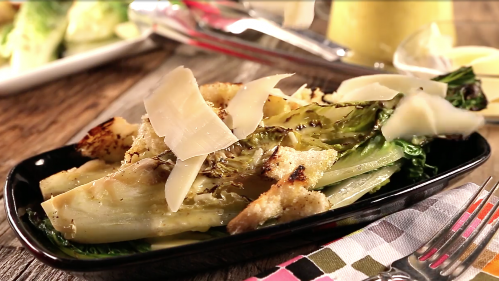 caesar salad prepared by grilling the salad, not just the chicken