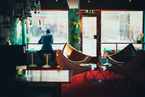 Photo of the interior of a coffee shop or internet cafe