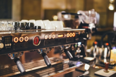 photo of expresso making coffee equipment in a restaurant