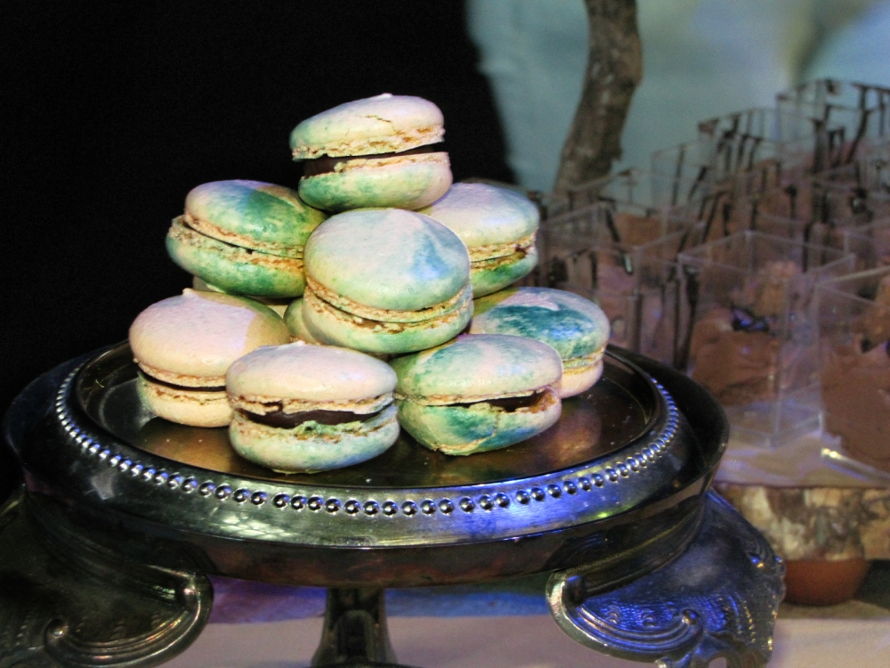 A beautiful and colorful stack of macaroon cookies prepared for the Baby Got Brunch festival to benefit charity