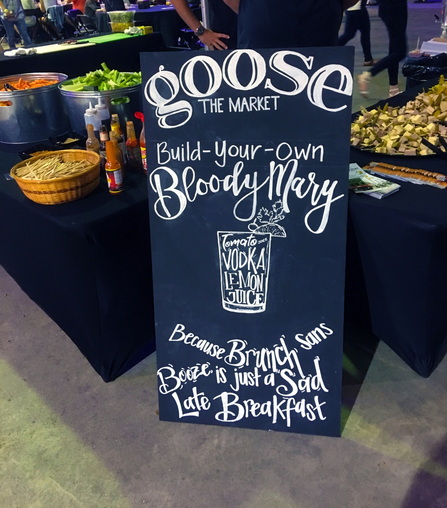 Restaurant chalk board announcing a variety of bloody marys available at the Baby Got Brunch event