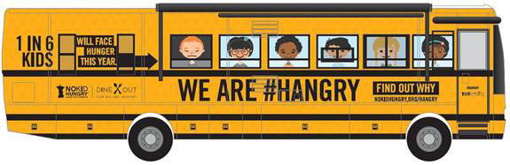 illustration of no kid hungry bus