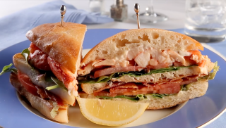 Dad likes upscale? Try this buttery-rich lobster seasoned with a squeeze of fresh lemon, toasted ciabatta bread, crisp bacon, ripe tomato, spring greens and fresh-made lemon aioli – the ultimate club sandwich.