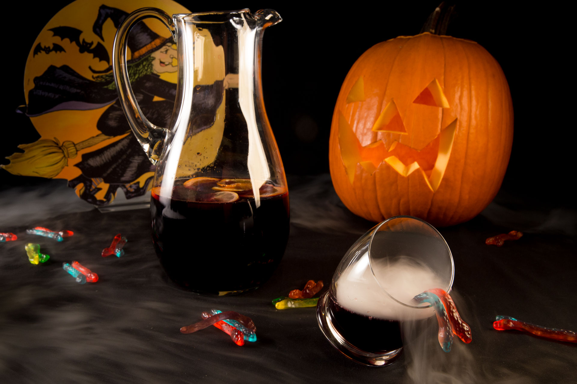 A spooky twist on a fall favorite, this Black Lagoon Sangria is equally tangy and sweet, thanks to raspberries, blackberries, pomegranate juice and lemonade.