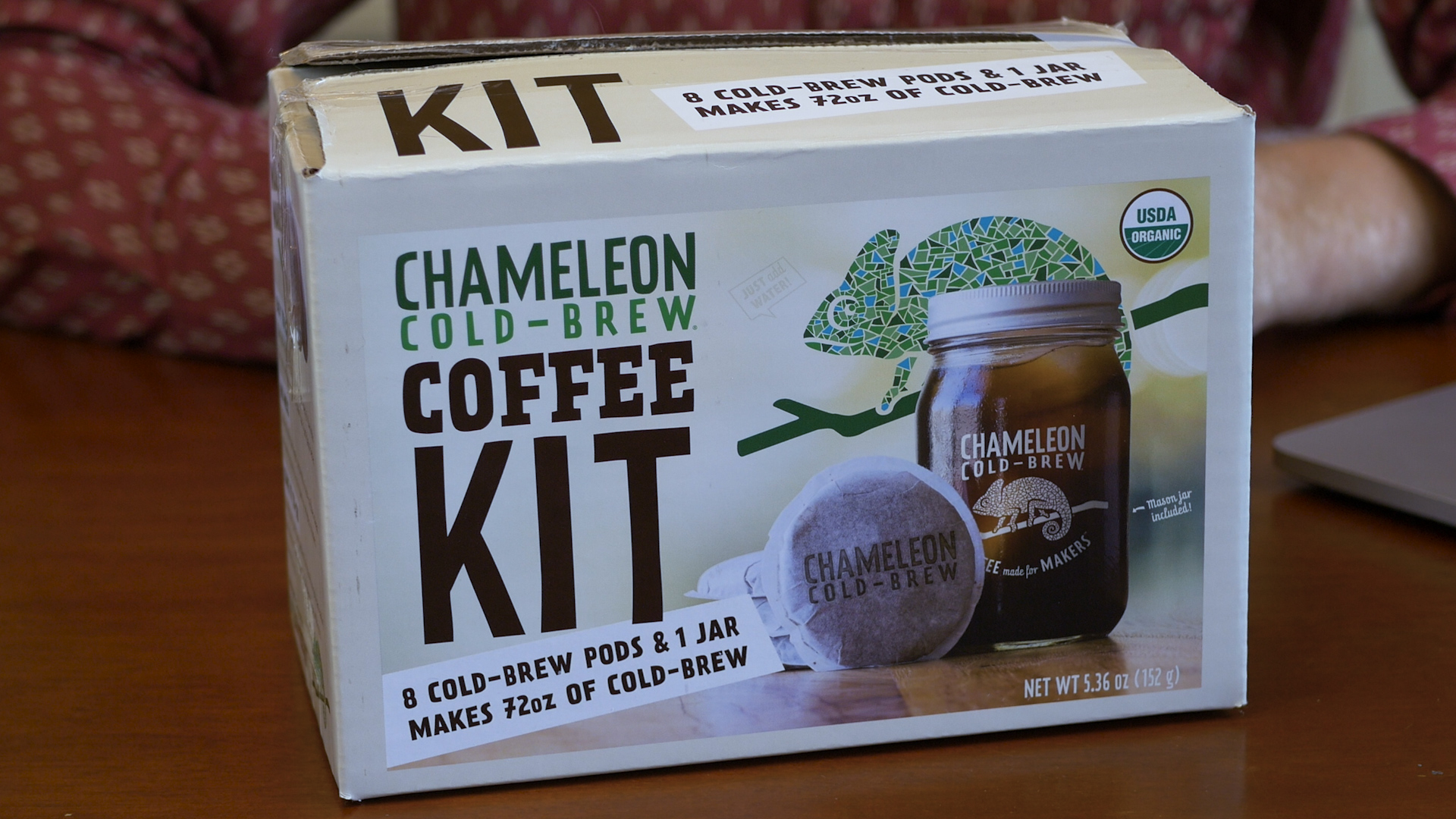 Photo of a Chameleon Cold-Brew Coffee Kit in a box