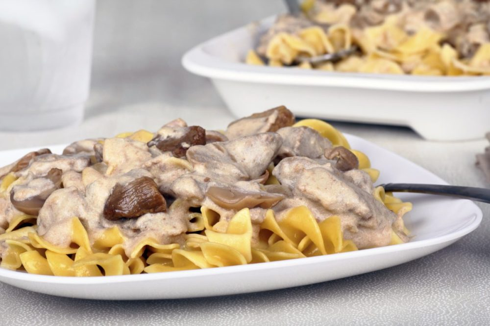 Beef stroganoff with beef tips, mushrooms and sauce over egg noodles