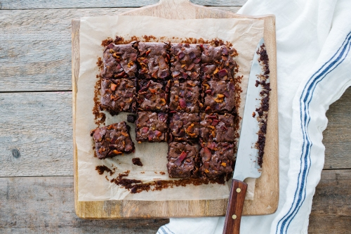 These fudge brownies double down on bacon by sprinkling some on top AND adding the rendered fat to the dough. They are chewy, decadently delicious and dad is sure to love them!