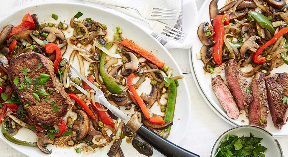 Balsamic Mushroom-Pepper Steaks by Terra's Kitchen
