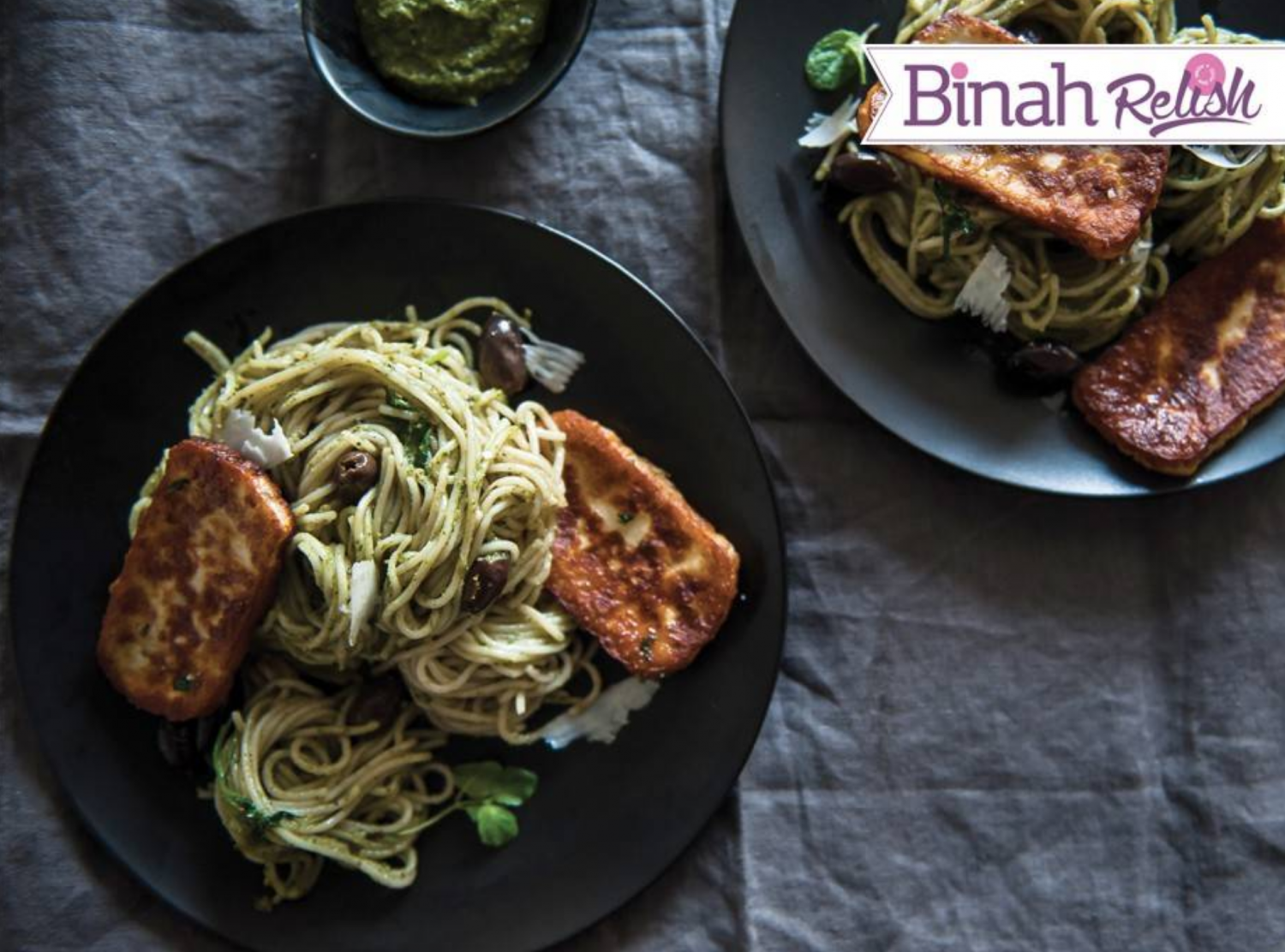 This recipe for Fried Haloumi Spaghetti with Basil-Mint Pesto is easy to follow and is appropriatefor Chanukah (Hanukkah), the Jewish festival of rededication celebrated in December, and often referred to as the festival of lights. The haloumi has a firm texture that, when fried, yields a crispy, salty skin that's irresistible. Use it to top this pasta, giving a fresh, creamy flavor to the overall dish.